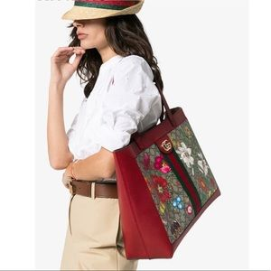 Gucci Red Ophidia GG Supreme Flora Tote Bag